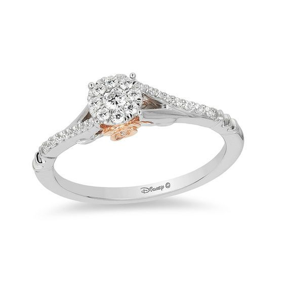4f5b8d5a5d22 Enchanted Disney Belle 1 5 CT. T.W. Diamond Frame Promise Ring in 10K  Two-Tone Gold
