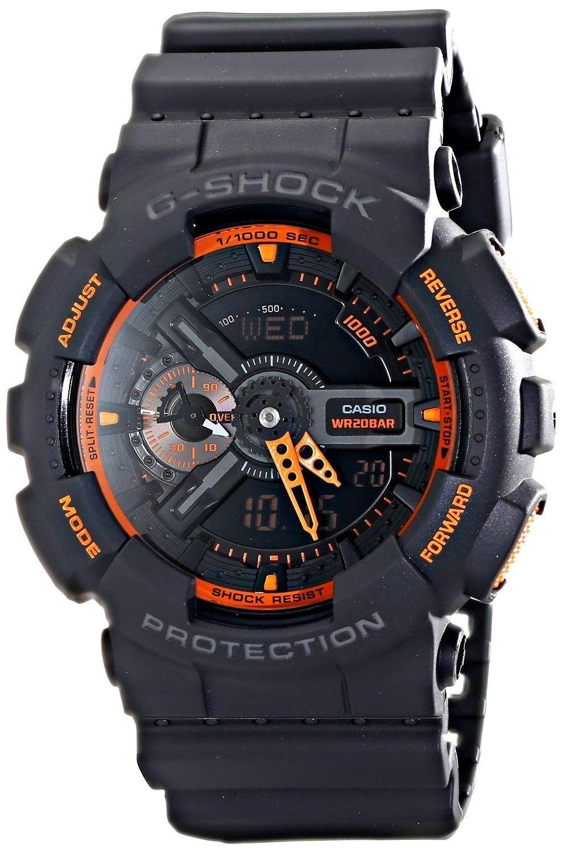 5fc0b941883f Casio G Shock Black Orange Resin World Time Analog Digital Watch GA110TS-1A4
