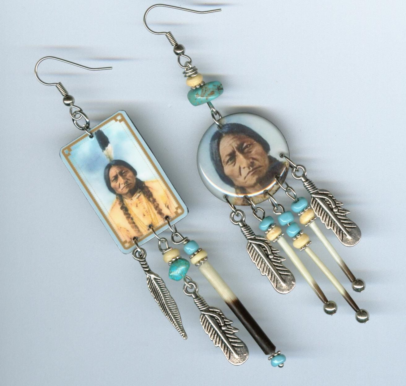Sitting Bull Asymmetrical Earrings Native American Indian