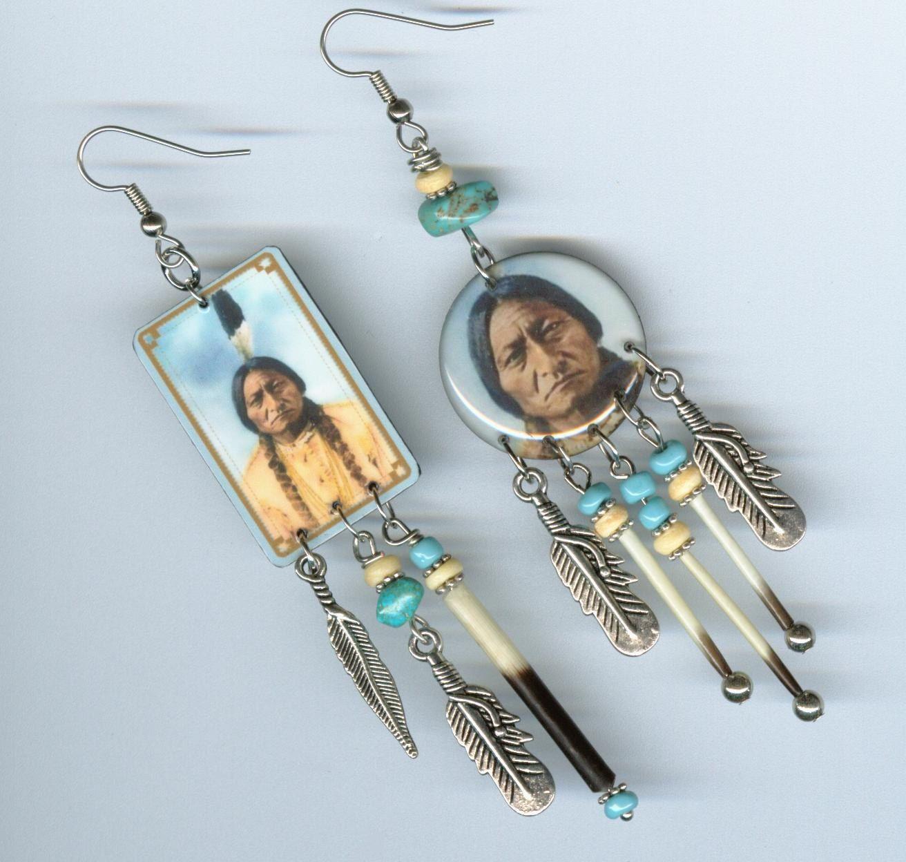 Sitting Bull Asymmetrical earrings Native American Indian