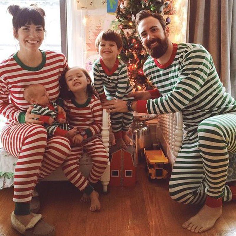 Christmas Family Pajamas Set.Christmas Family Women Men Sleepwear Pajamas Set Striped