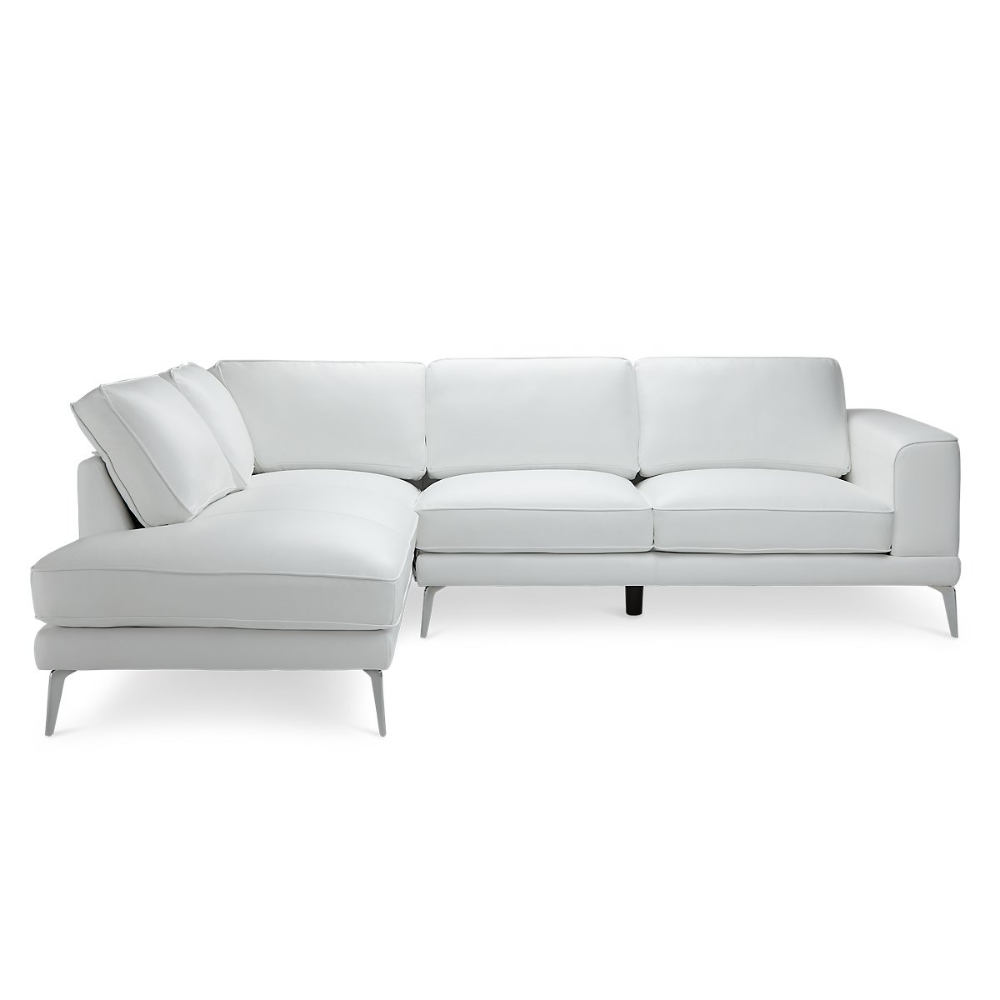 Naples White Leather Left Chaise Sectional With Metal Legs