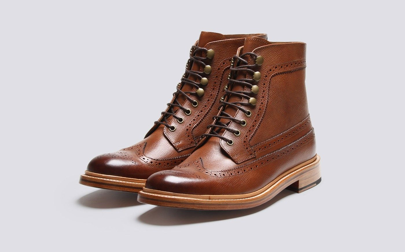 Mens Brogue Boot in Tan Alpine Grain Leather with a Leather Sole