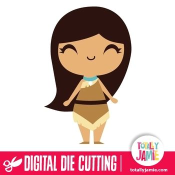 Cute Princess Pocahontas - Have fun and get creative with this die cutting file of a cute princess pocahontas. Digital die cutting files are designed specifically with cutting machines in mind. Use them with programs such as your Silhouette, Cricut (SCAL/MTC), Pazzles, Klick-n-Kut, Wishblade or any cutting machine that can use the following file formats: SVG, PDF, and DXF....