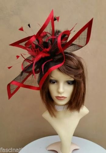Large Red   Black Ascot style Fascinator Hatinator with feathers ... 23e1b90a46b