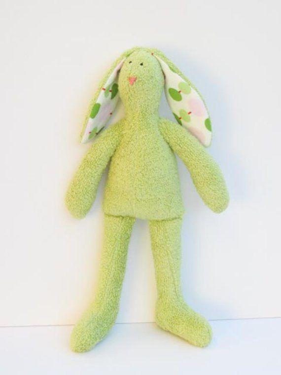 Stuffed Bunny Doll Cute Soft Terry Cloth Easter Bunny Rabbit Hare Softie Plush Light Green Olive Bunny Rabbit Baby Shower gift Nursery Decor