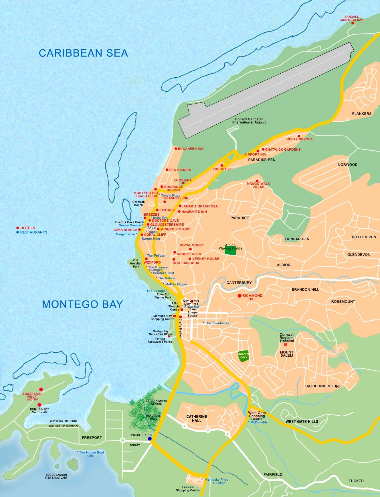 Tourist map of Montego Bay montego bay jamaica • mappery