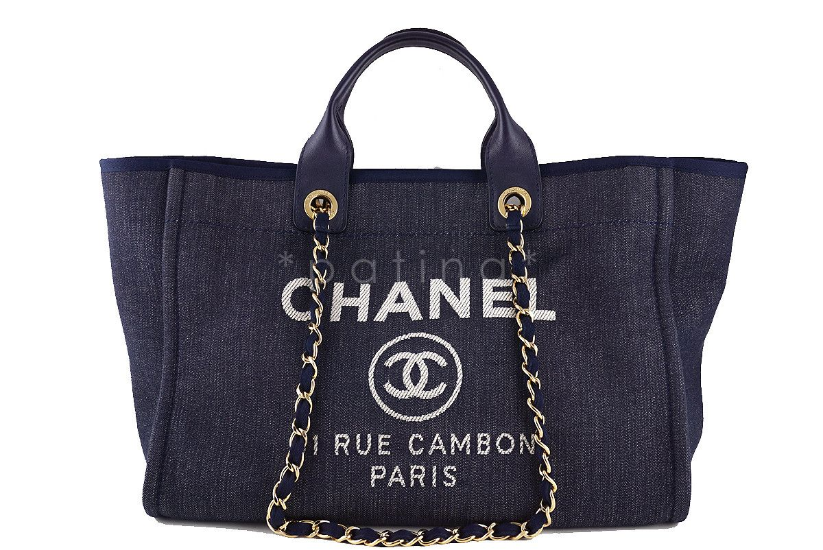 Chanel Dark Blue Deauville GM Denim Two-Way Beach Tote Bag  3 0e175b728fd5d
