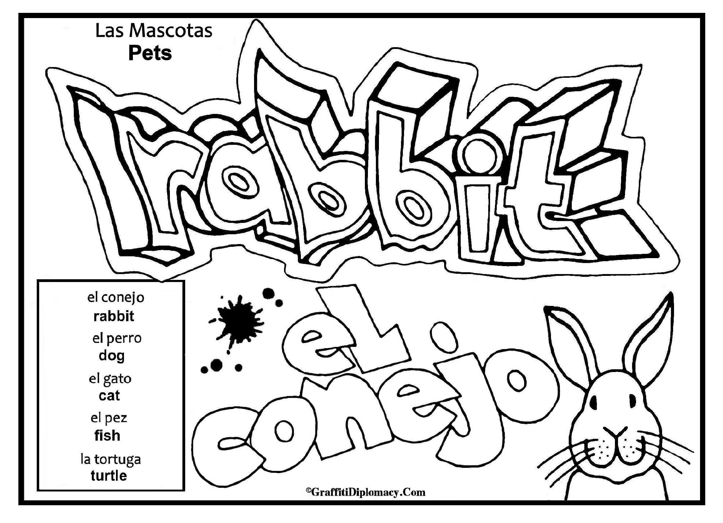Pets - Las Mascotas , spanish to english printable graffiti coloring ...