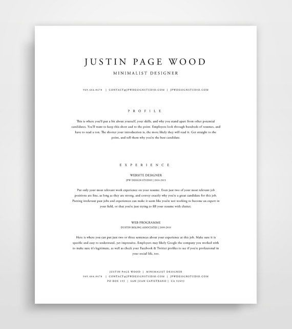 Classic Resume, Resume Template Instant Download, Resume and Cover ...