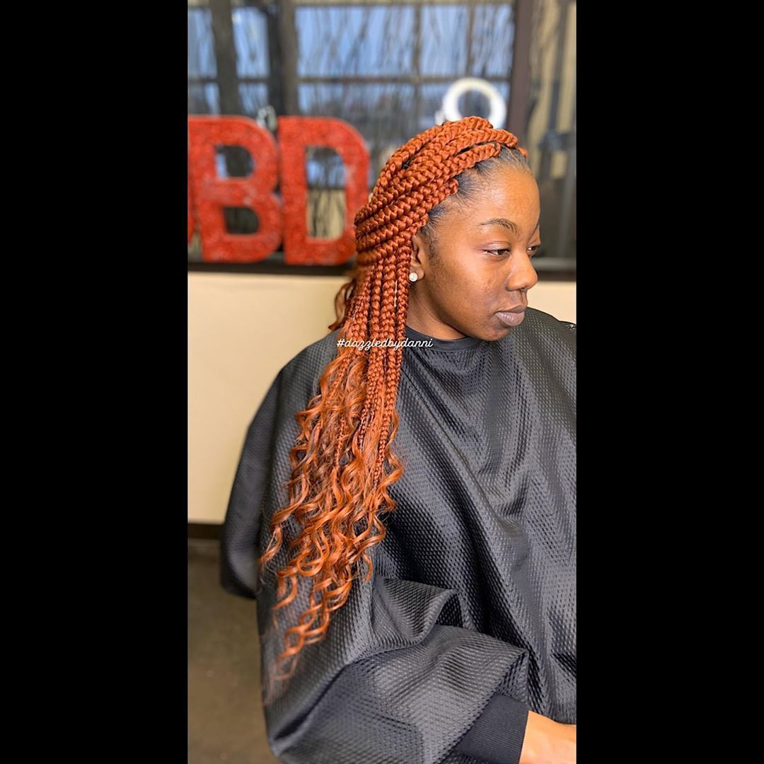 Danni On Instagram Length 20 Inch Style Goddess Box Braids Color 350 Book Your Next Box African Hair Braiding Styles Box Braids Vintage Hairstyles