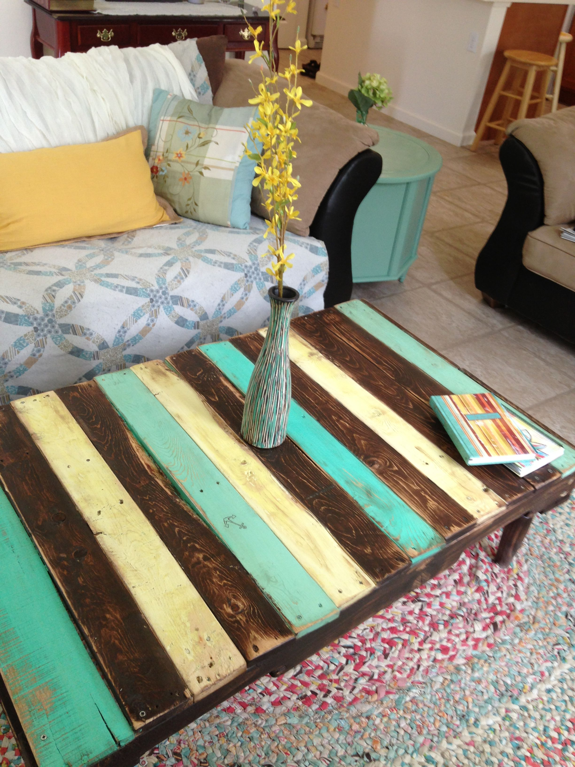 Painted Pallet coffee table I made Nautical colors and stain