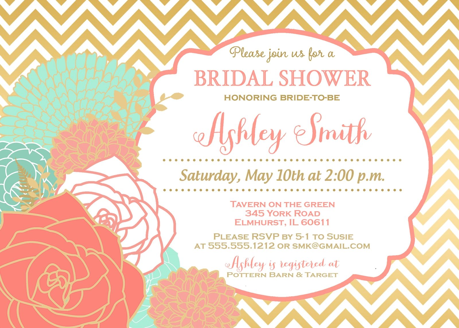 BCoral, Mint & Gold Chevron Bridal Shower Invitation and ...