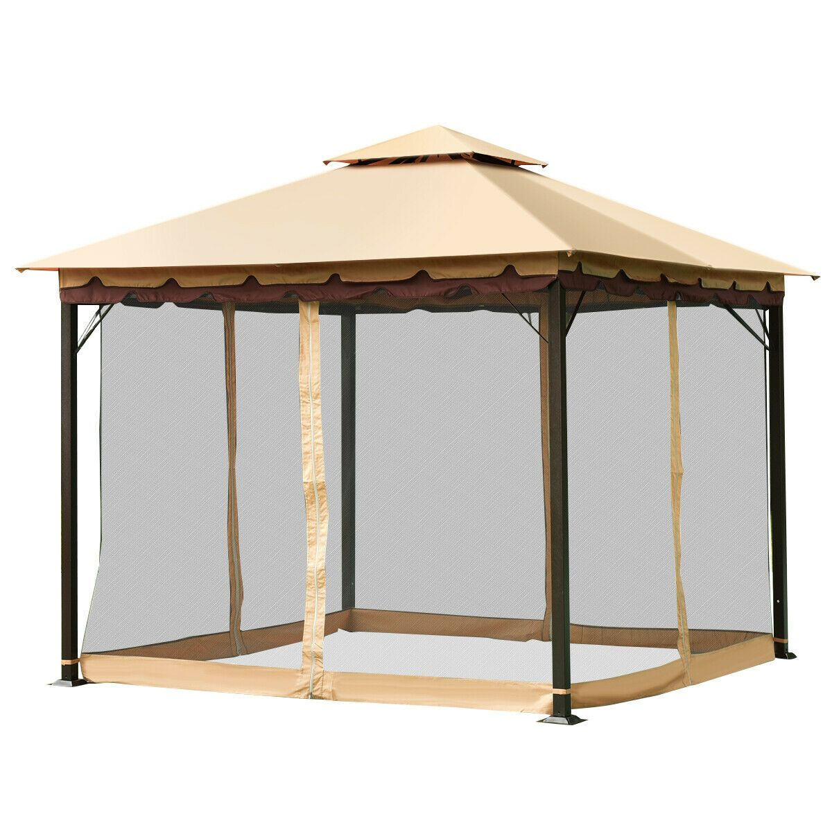 Online Gym Shop Cb19809 10 X 10 Ft Outdoor Gazebo 2 Tier Patio Tent Walmart Com In 2020 Steel Gazebo Canopy Outdoor Patio Tents