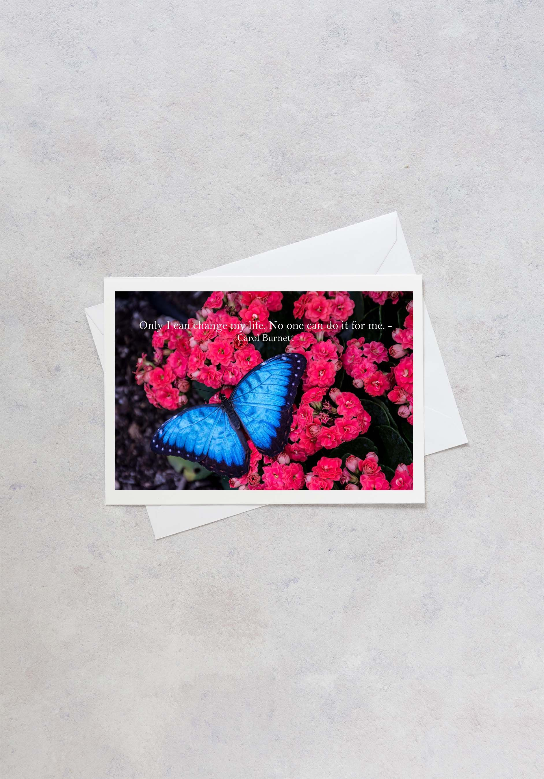 Fine Art Card Carol Burnett Quote Butterfly Flowers Greeting