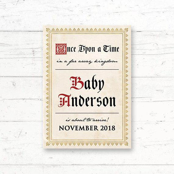 Medieval Printable Baby Announcement Card Pregnancy Invitation by