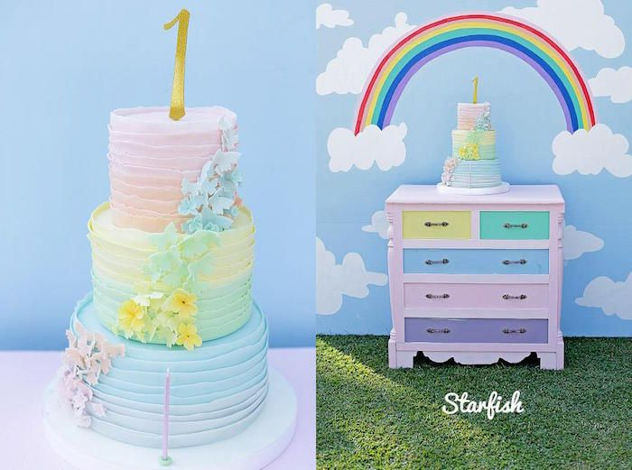 Pastel Girly Wonderland Rainbow Birthday Party Rainbow birthday