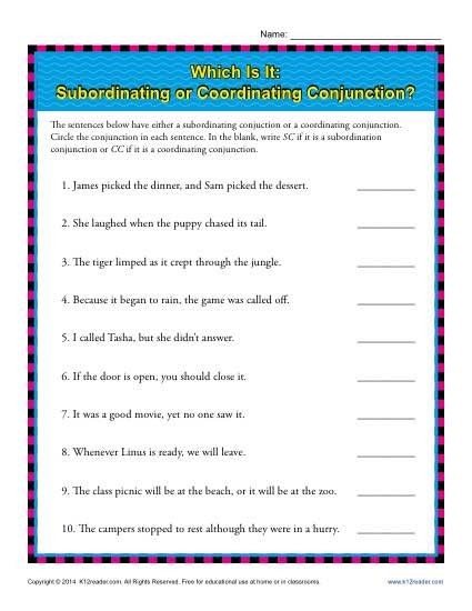 subordinating or coordinating conjunctions class pinterest