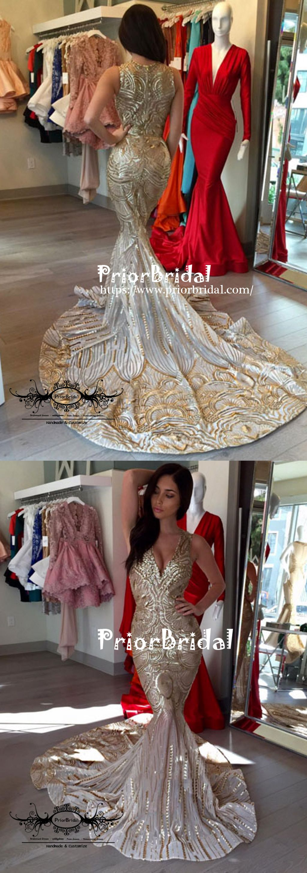 Stunning sparkly fashion gold sequin mermaid evening party prom gown