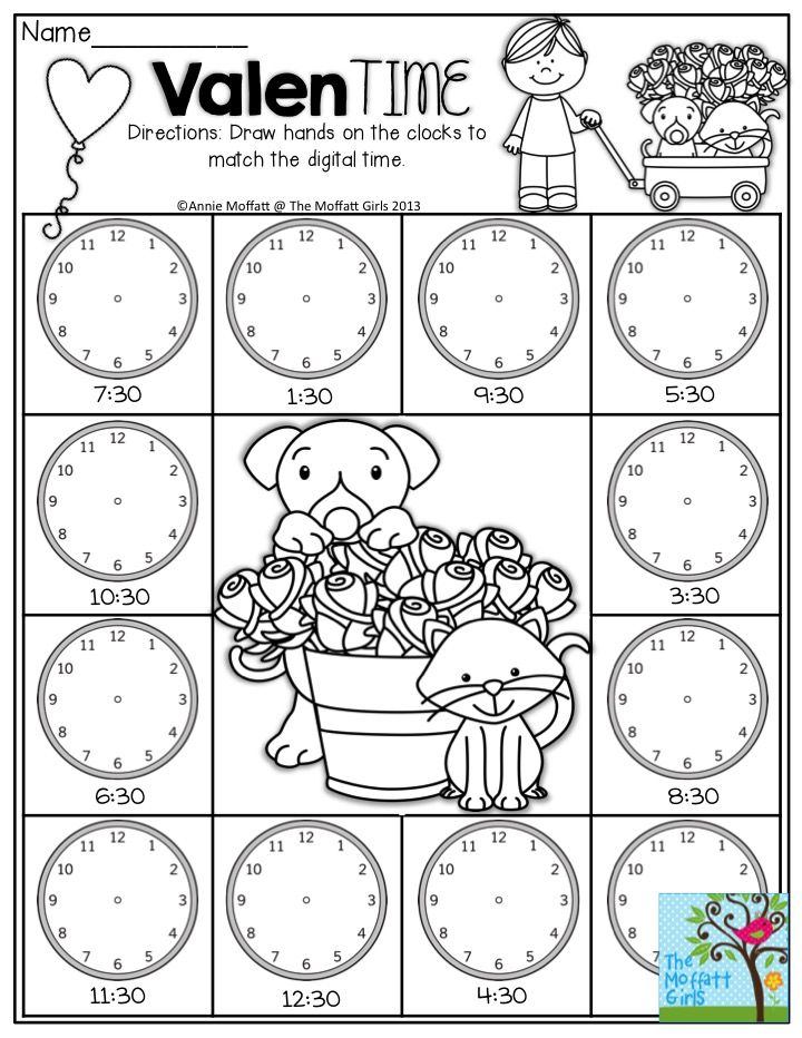 Time Worksheets analogue to digital time worksheets : ValenTIME- Draw hands on the clocks to match the digital time. So ...