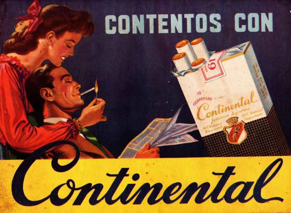 Cigarrillos CONTINENTAL, 1950.