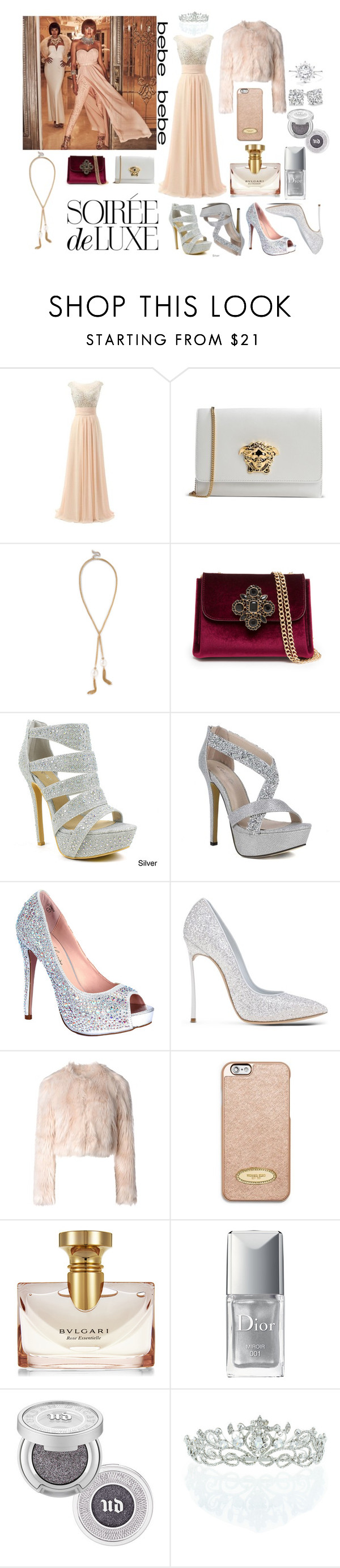 """Soirée de Luxe with bebe Holiday"" by aliss90 ❤ liked on Polyvore featuring Bebe, Versace, Celeste, Lauren Lorraine, Casadei, RED Valentino, MICHAEL Michael Kors, Bulgari, Christian Dior and Urban Decay"