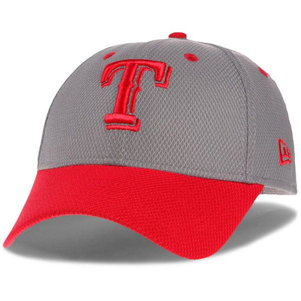 38ba7274b26 Men s Texas Rangers New Era Gray Red Team Addict Diamond Era 39THIRTY Flex  Hat