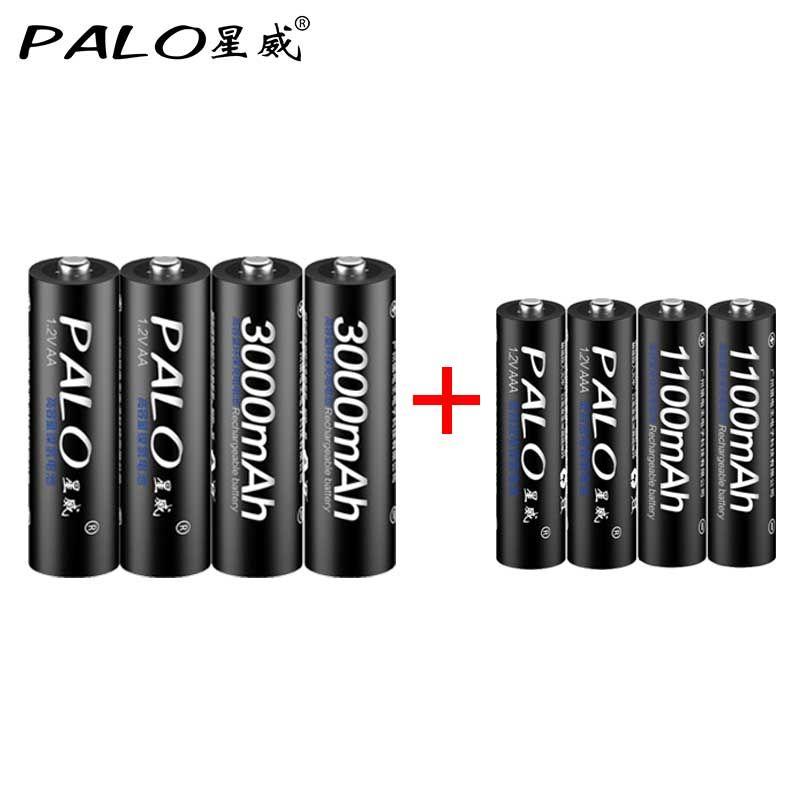 Palo 4pcs 1 2v 3000mah Aa Batteries 4pcs 1100mah Aaa Batteries Ni Mh Aa Aaa Rechargeable Battery Rechargeable Batteries Batteries Aaa Batteries