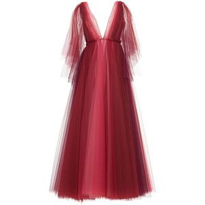 Luisa Beccaria Tulle Bicolor V Neck Gown