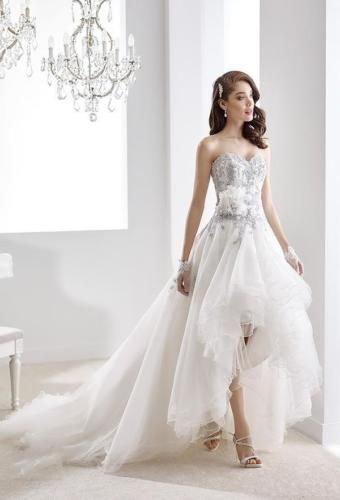 Sweetheart High Low Long Wedding Dress Tulle Applique Custom Made Bridal Gown
