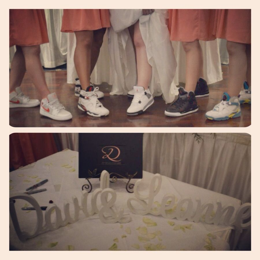Groom and Bride loves their MJ shoes so why not have the bridal party wear  their fav Micheal Jordan shoes as well.