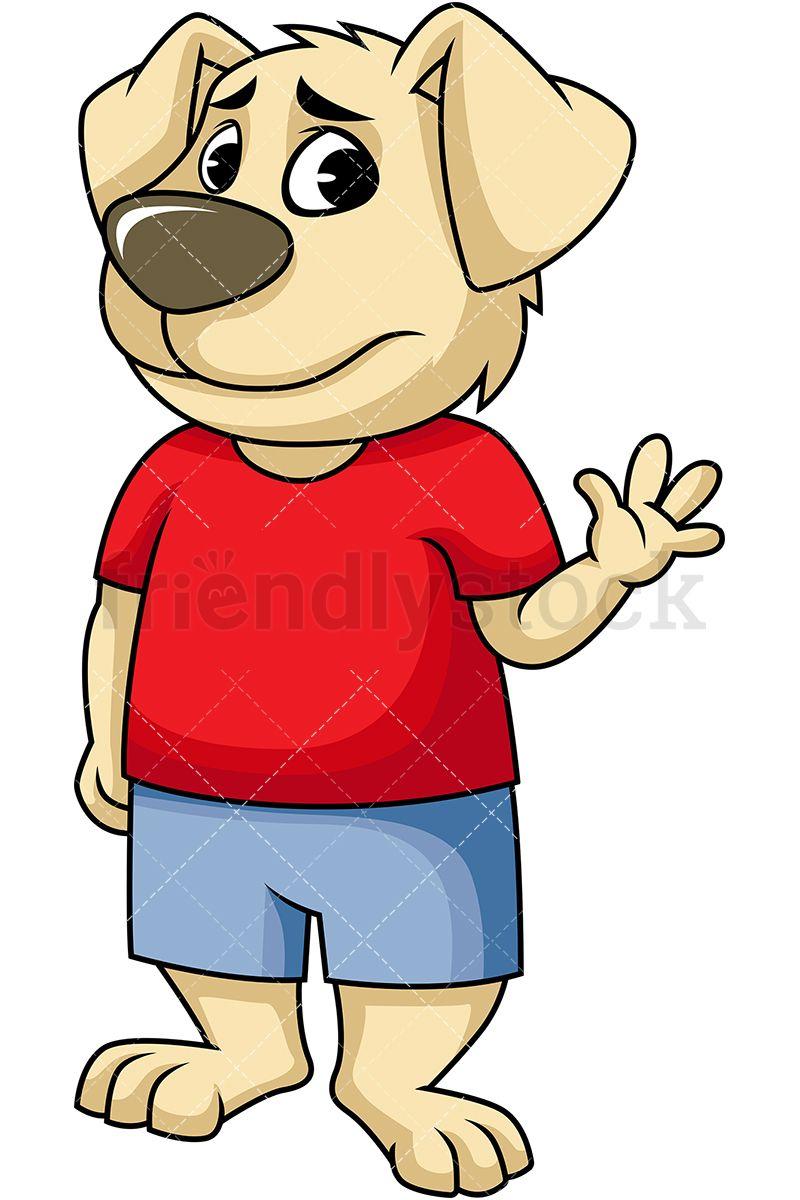 dog mascot character waving goodbye royalty free stock vector illustration of a dog character looking sad as he waves goodbye friendlystock clipart  [ 800 x 1200 Pixel ]