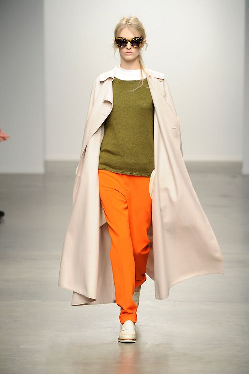 Oversized trench with a pop of orange @ Karen Walker #NYFW