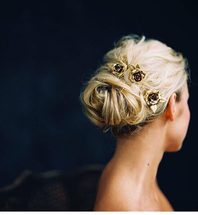 Pretty low up do with awesome melindarose gold rose hair pins