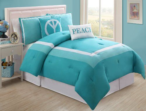 4 Pc Modern Teens Turquoise and White, Peace, Comforter Set, Twin Size Bedding, Bed in a Bag, By Plush C Collection by Plush C Collection, http://www.amazon.com/dp/B00ADPZHHS/ref=cm_sw_r_pi_dp_UMrwrb12TDBSX