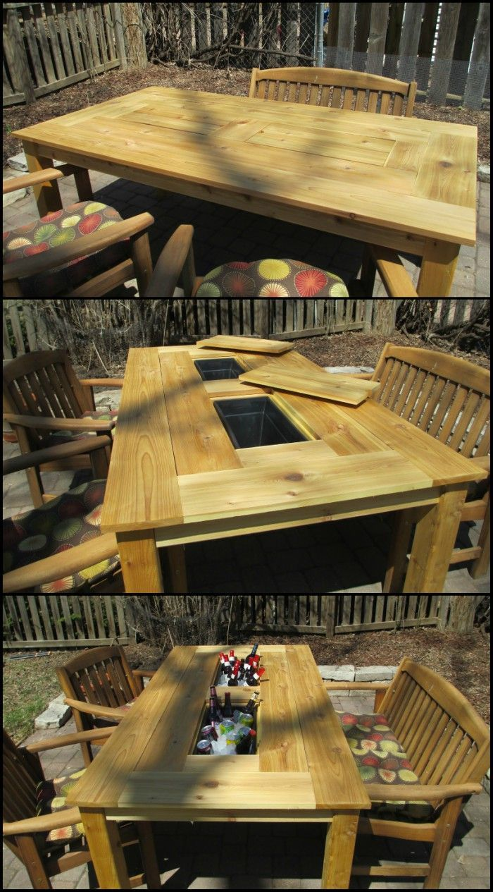 how to build a patio table with built in beer wine coolers master rh pinterest com how to build a patio table with umbrella how to build a patio table with tile