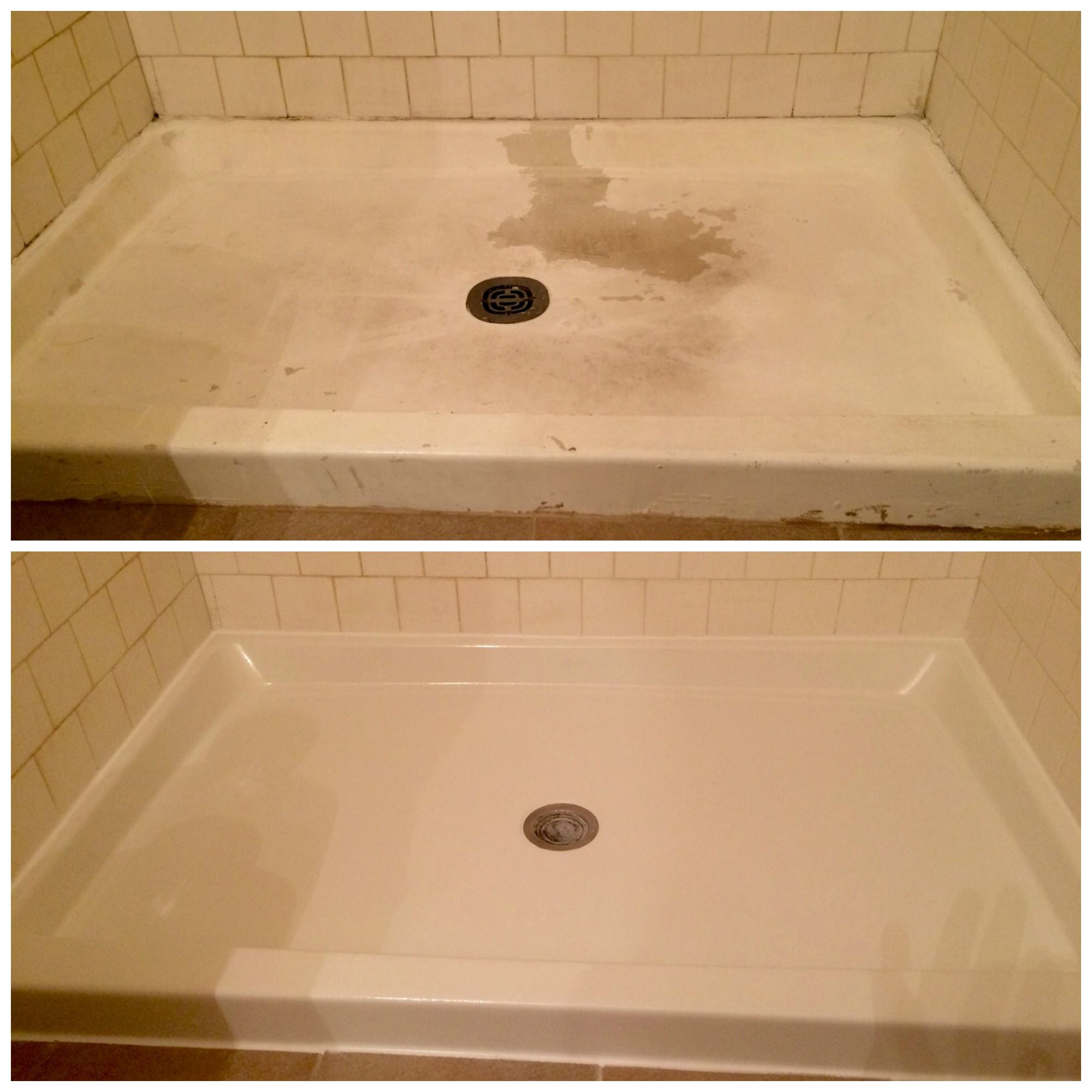 Peeling Stained Shower Pans Can Be Resurfacing To Like New
