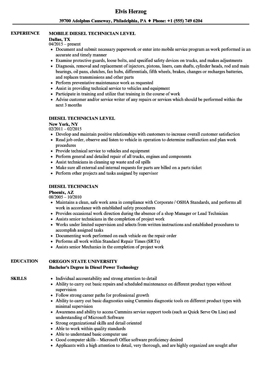 Resume Examples Diesel Mechanic ResumeExamples