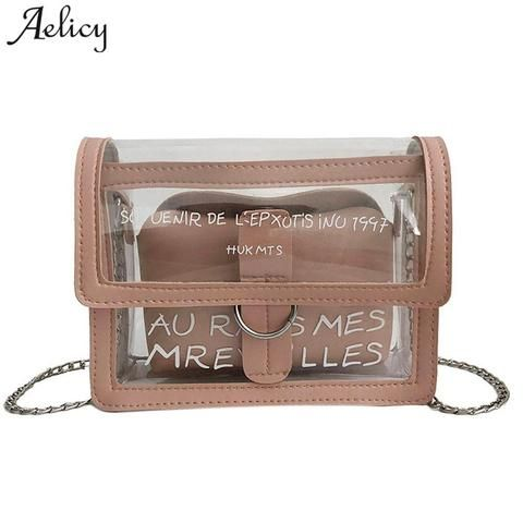 5d8a1f61b9 Aelicy Laser messenger bags candy women fashion jelly Transparent handbag  Plastic shoulder bags hasp Chains handbags Bolsas
