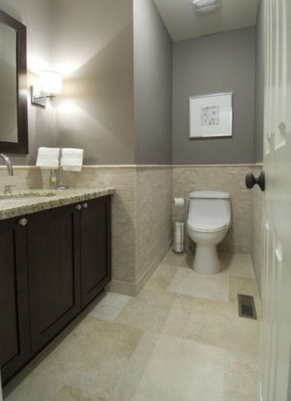 Half Tile Wall Around Toilet A Must Have In Small Spaces Beige Tile Bathroom Bathroom Color Schemes Bathroom Colors