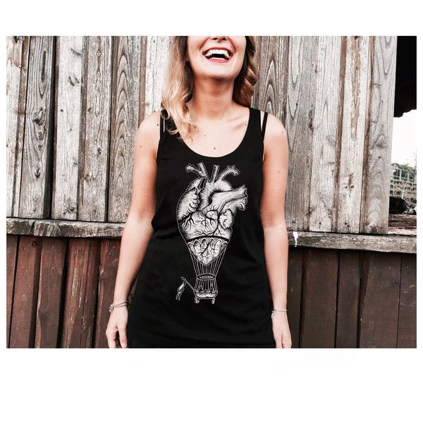 Hot Air Balloon Anatomical Heart Tank Top for Women Printed Shirt for... (770 UYU) ❤ liked on Polyvore featuring tops, black, women's clothing, long shirts, heart print shirt, long tops, long vest tops e black vest top
