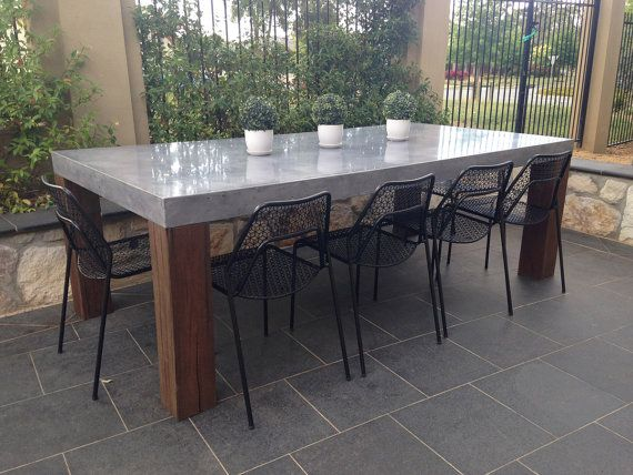 Concrete And Timber Dining Table By Digitizedstone On Etsy With