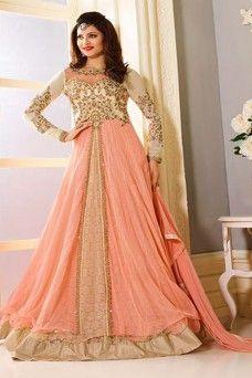 f3d57b1527  peach  net  designer  patchwork  bollywood  anarkali  ethnic  indian   urvashi  partywear  anarkali  gown  suit