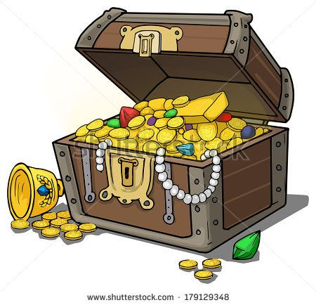 Treasure chest full of gold and jewels, vector ...