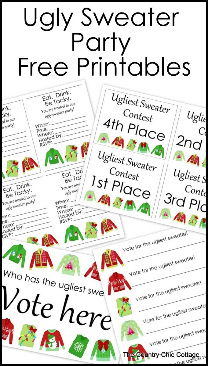 Ugly Sweater Party Free Printables Holiday Crafts Pinterest