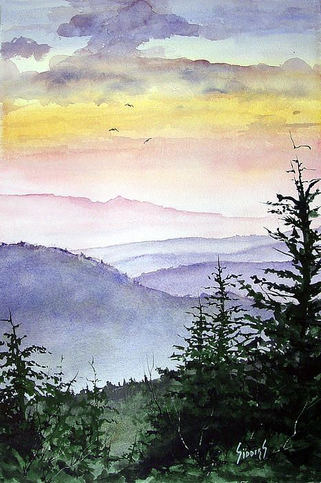 Clear Mountain Morning Ii Watercolor Art Watercolor Paintings