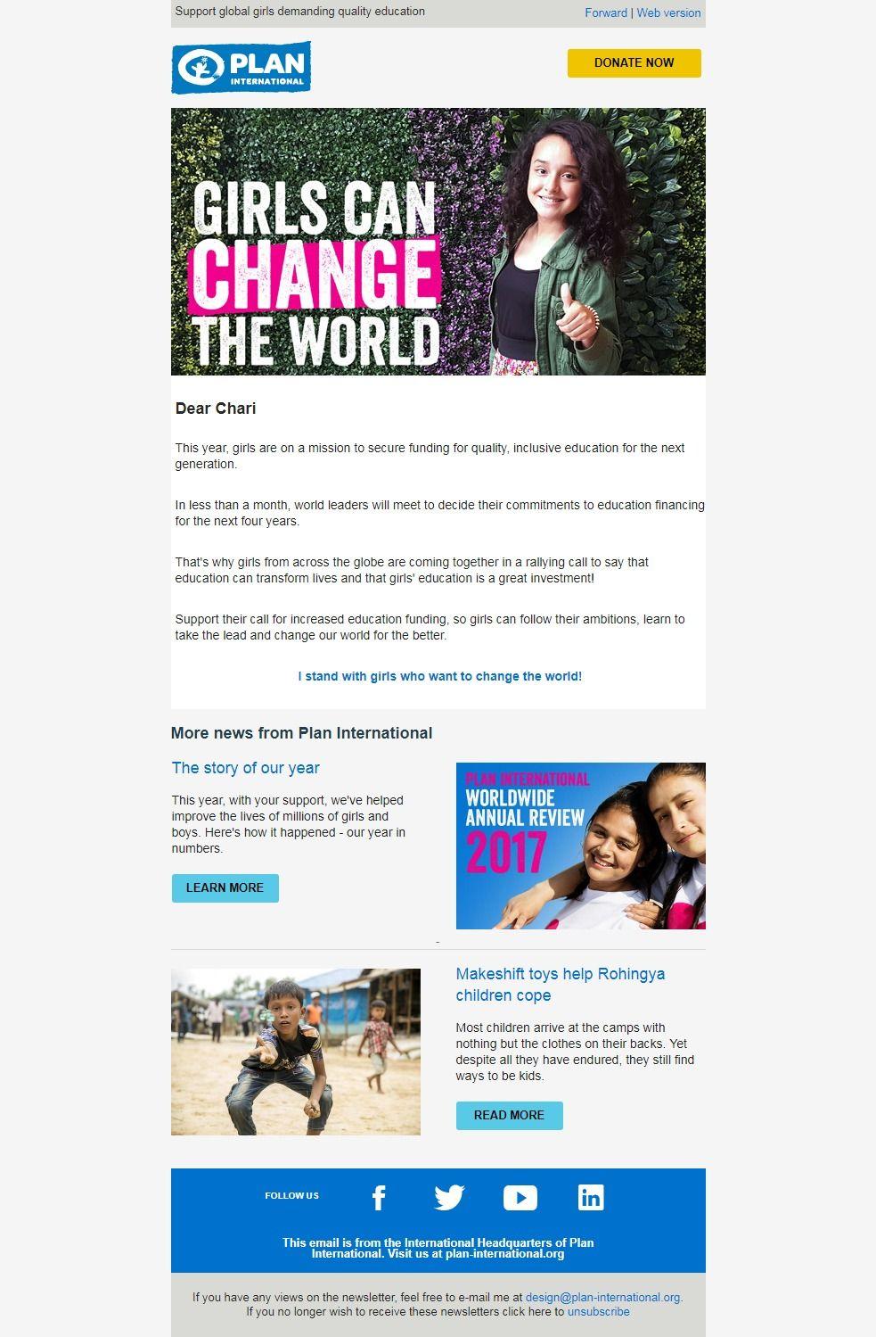 Plan International: Girls can change the world | Newsletter