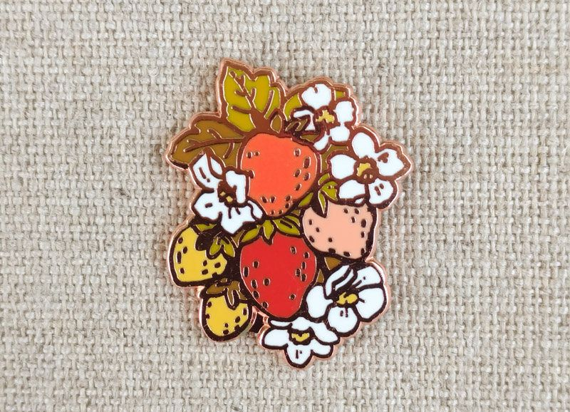 Kitsch Strawberry Bunch Pin // Cloisonne Hard Enamel Rose Gold