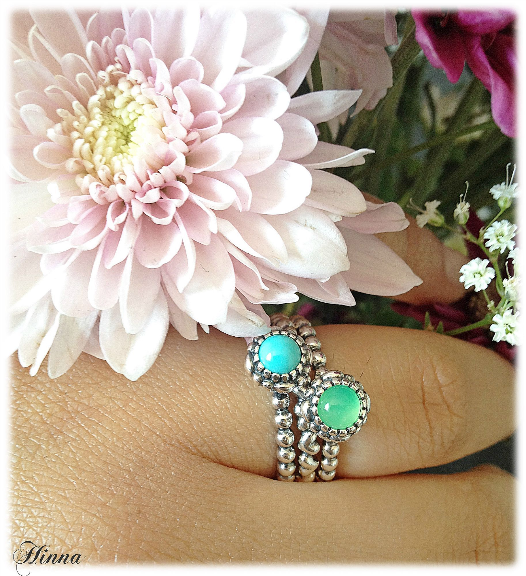 8d4cbf08e Chryoprase and Turquoise birthstone rings 190854CH and 190854TQ with a  Valentine heart ring. Great combination!