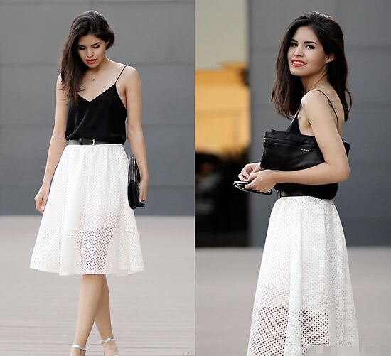 Street Snap:Black and White; Camisole and Skirt